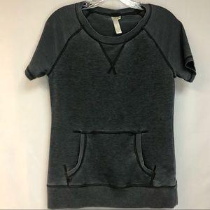 GreenTea Mineral Wash Gray Short Sleeve Sweatshirt